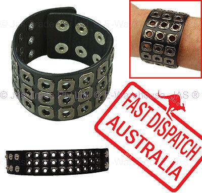 Hip Hop Party Costume Sports Goth Leather Cuff Wristband Bracelet Studded Black