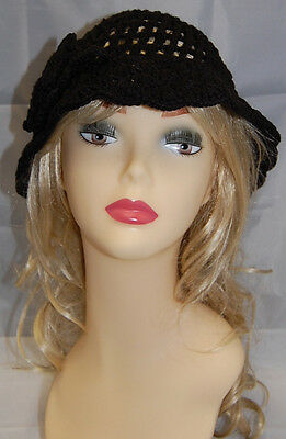 Crocheted Great Gatsby Costume  20s 20's Flapper Hat Cloche Vintage Style Black