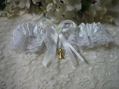 Garter Satin & Lace  White Wedding Bridal Gold Bride & Groom Charm