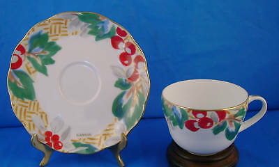 LANVIN PARIS CUP/SAUCER FINE CHINA RED BERRIES GREEN BL
