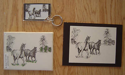 Running Horses 3 Pc Set-6 Notecards-Small Print and Keychain New