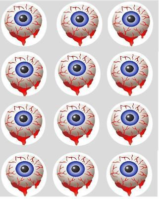 12 Halloween Blood Eyes Cupcake Decoration Edible Cake Toppers Pre Cut 40mm