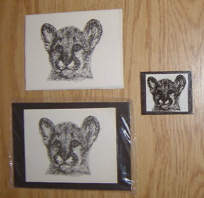 Cougar Cub 3 Pc Set-Print,6 Blank Notecards and Magnet New