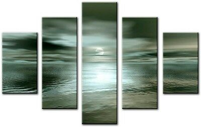 5 Panel Total 115x80cm Large ABSTRACT  ART CANVAS  DIGITAL SWITC Blue Green