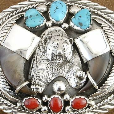 Genuine Turquoise Coral Faux Bear Claw Sterling Buckle