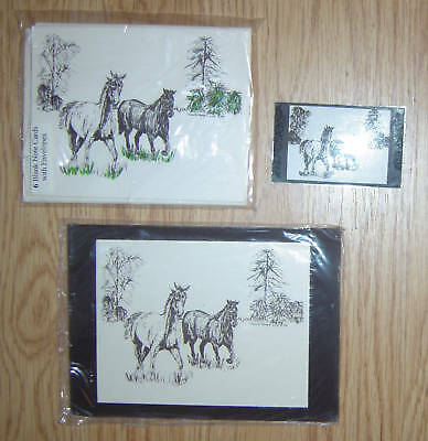 Horses Running 3pc Set-Print,6 Blank Notecards and Magnet New