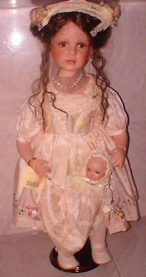 """NIB Porcelain Doll New PEYTON 24"""" Rtrd Pc With Small Removable Baby  Doll"""