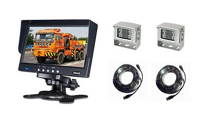 """7"""" TWO CAMERA REAR VIEW BACK UP SYSTEM SAFETY REVERSE CAR PICKUP TRUCK SUV RV 2"""