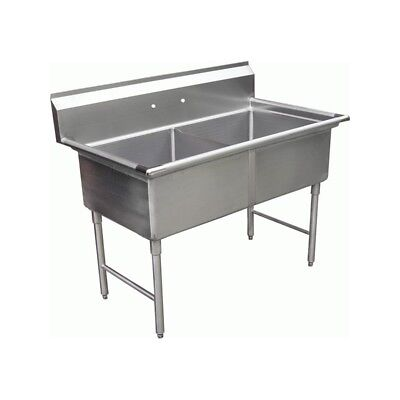 "2 Compartment Stainless Steel Sink 18""x18"" No Drainboard"