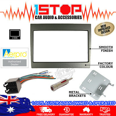 Vy-Vz Commodore Grey Double-Din Facia Fascia Kit Wiring Harness Antenna Adaptor