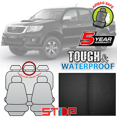 GREY 12oz CANVAS SEAT COVERS for TOYOTA HILUX DUAL CAB SR SR5 4X4 3/2005-6/2015