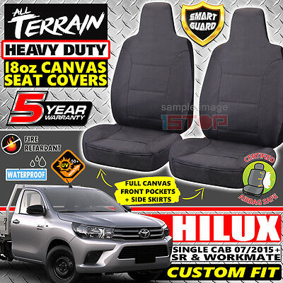 TOYOTA HILUX SINGLE CAB 07/2015-2017 GREY 18oz CANVAS SEAT COVERS SR & WORKMATE