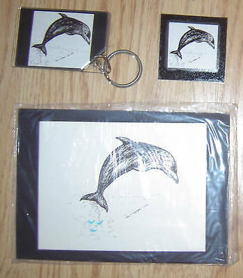 Dolphin 3 Piece Set-Small Print, Keychain and Magnet New