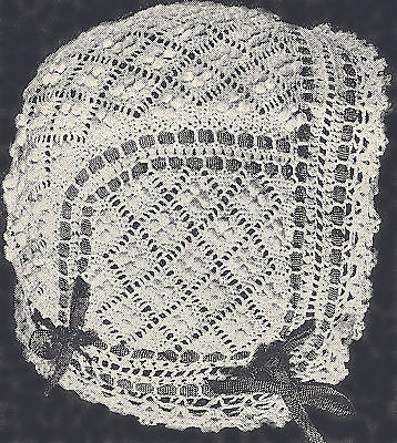 Vintage Antique Crochet PATTERN to make Baby Cap Hat Bonnet Dutch WeldonDiamond
