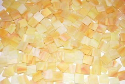 """100 1/2"""" Canary Yellow Tumbled Stained Glass Mosaic Tiles"""