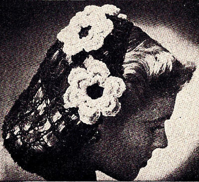 Vintage Crochet PATTERN to make Irish Rose Flower Motif Snood Hair Net