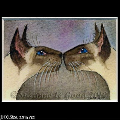 Aceo Sealpoint Siamese Cat Kiss Print From Original Painting By Suzanne Le Good
