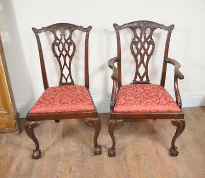 8 Chippendale Mahogany Dining Chairs Lions Head Chair