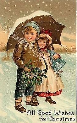 Vintage Christmas Fabric Block Victorian Kids Umbrella Snowy All Good Wishes