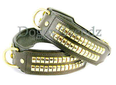 """26"""" Brown Leather Dog Collar Padded Brass Studs Large Dog 2"""" Wide Fit 20"""" - 24"""""""