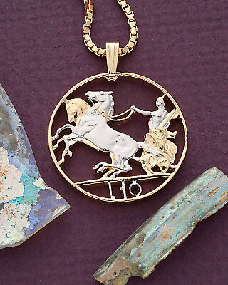 """Italy Roman Knight W/Horse Coin Pendant Necklace. Hand cut 1"""" diameter ( # 204 )"""