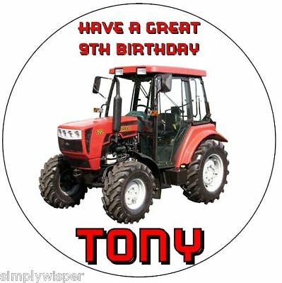 """Red Farm Tractor Personalised 7.5""""  Birthday Cake Decoration Topper Sugar Icing"""