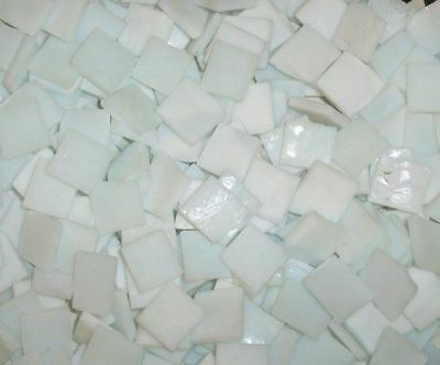 """100 1/2"""" Cloud White Tumbled Stained Glass Mosaic Tiles"""