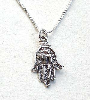 Filigree Sterling Silver Hamsa Hand with Chai Necklace