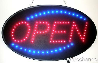 "Ultra Bright Animated Oval LED Neon Light Open Sign Super Size 23"" X 14""  U730"