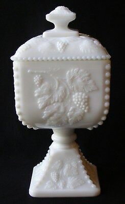 Westmoreland Beaded Paneled Grape Milk Glass Compote