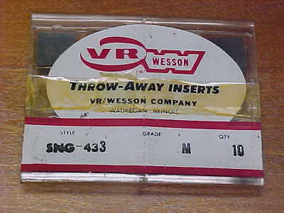 10 VR/WESSON Throw-Away CARBIDE INSERTS SNG-433 NEW!