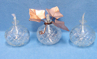 SET OF 3 GLASS OIL LAMPS 1 WITH COPPER IVY LEAF ACCENT