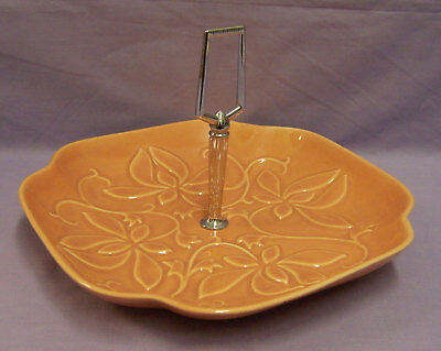 VINTAGE CALIFORNIA USA POTTERY DISH OR TRAY WITH HANDLE