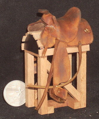 Dollhouse Miniature Cowboy Western Leather Saddle Old Brown 1:12 Horse Rodeo
