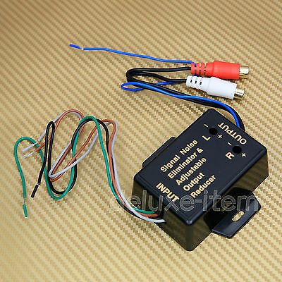 Car Stereo Speaker Wire Input to RCA Output Line Level Converter Adaptor Pre-out