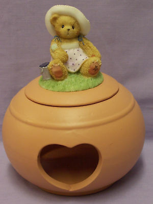 Enesco Cherished Teds Bear Candle Holder Heart Holes