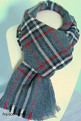 ECHARPE TARTAN GRISE Made In FRANCE 100% acrylique Homme  Femme ... ece07b0f1e0