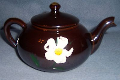 Vintage old black BROWN Iridescent little small TEAPOT TEA POT hand-painted
