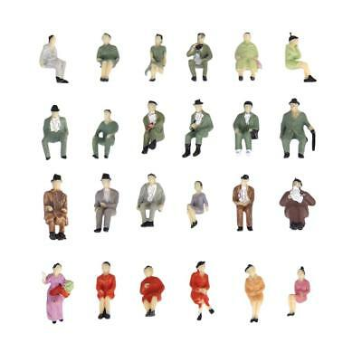 24 x SEATED PAINTED FIGURES 1:87 Model Train People HO