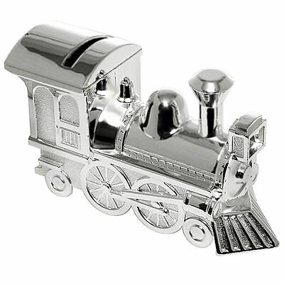 Personalised Silver Plated Train Money Box Any Message Engraved Christening Gift