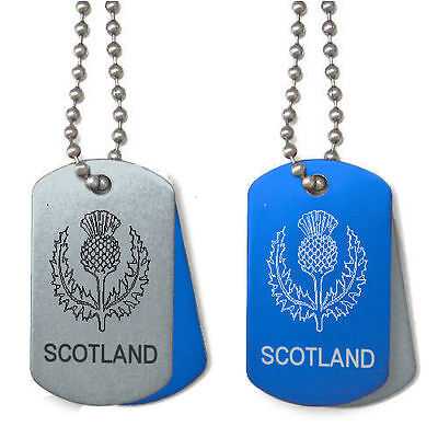 Personalised Scottish Thistle Scotland Dog ID Army Tag, Any Message Engraved