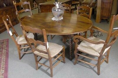 Farmhouse Refectory Table Ladderback Chair Set Dining 507792