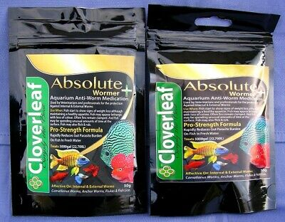 WORMER PLUS 5% TWO x 5g packs aquarium fluke, fish wormer & parasite killer.