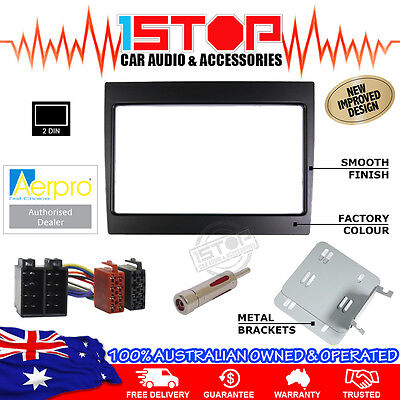 Vy-Vz Commodore Black Double-Din Facia Fascia Kit + Iso Wiring Harness + Adaptor