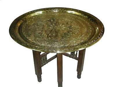 "Islamic Moroccan Brass Tray Table 20"" with wooden stand"