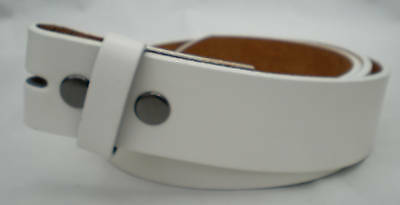Quality Italian Designed White Leather Snap-On Belt