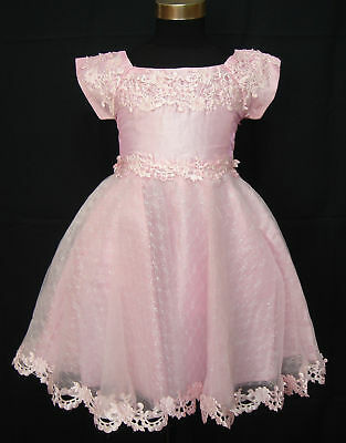 Girls Christening Dress Flower Girl Party Dress White Pink 9-12 to 2-3 years