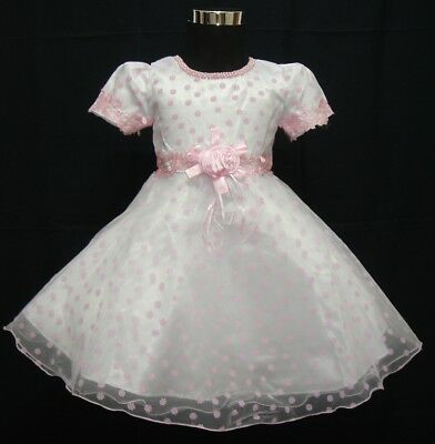 Baby Christening Party Dress Flower Girl Dress White Lilac Red Pink