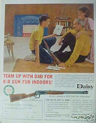 Daisy Vintage (1962) Boy~Dad BB Gun Rifle Indoor Range Vintage Kids Toy Print AD