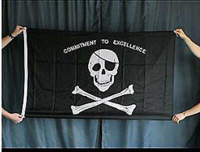 Jolly Roger: Commitment to Excellence 3x5 Pirate Flag Weatherproof